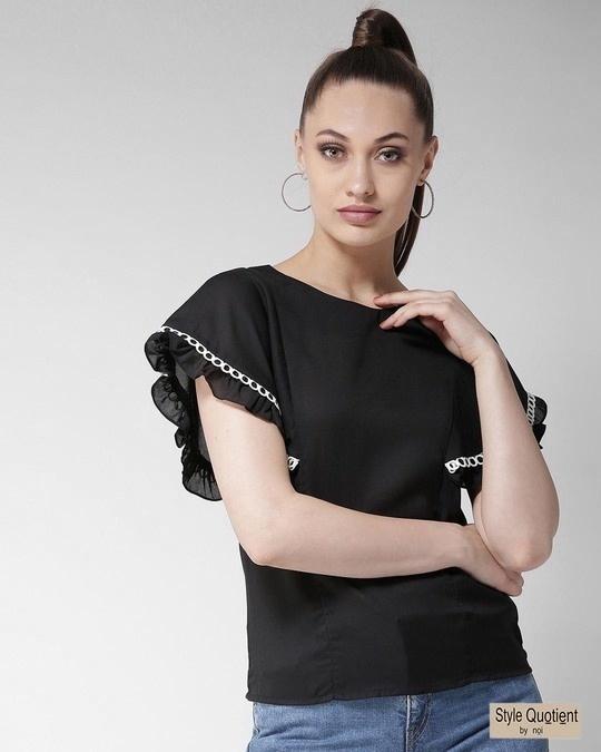 Shop Women Black Solid Top-Front