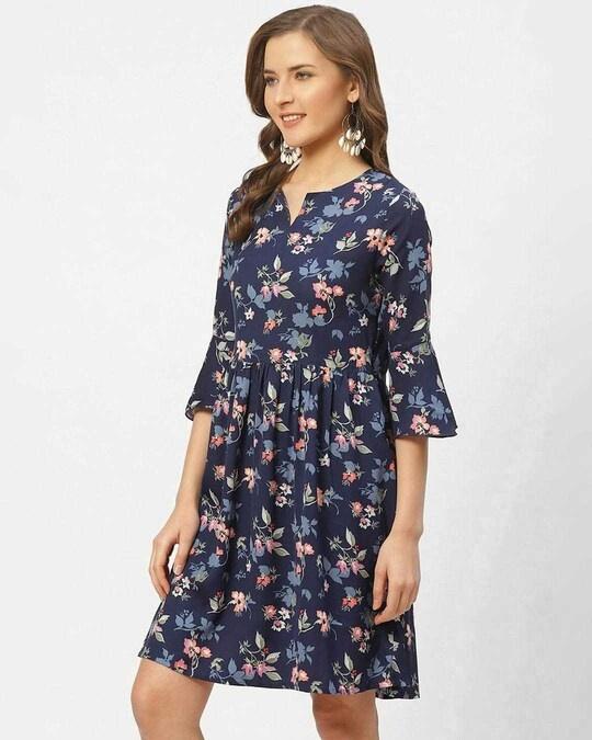 Shop Style Quotient Women Blue & Pink Floral Print A-Line Dress-Back