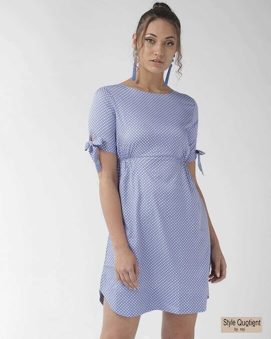 Shop Style Quotient Women Blue & White Polka Dot Print A-Line Dress-Front