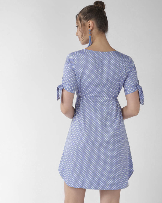 Shop Style Quotient Women Blue & White Polka Dot Print A-Line Dress-Design