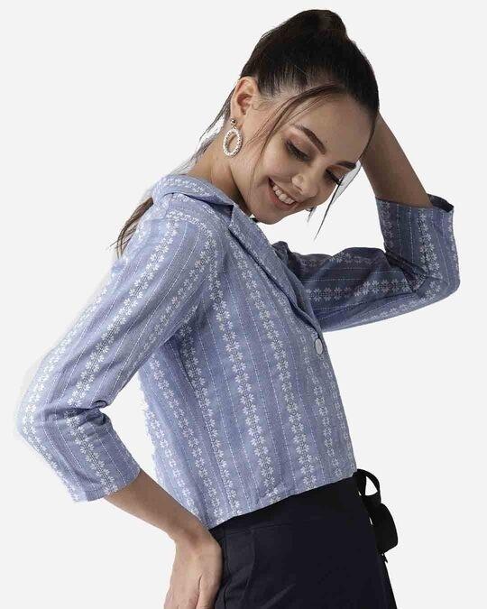 Shop Style Quotient Women Blue & White Self Design Crop Button Shrug-Design