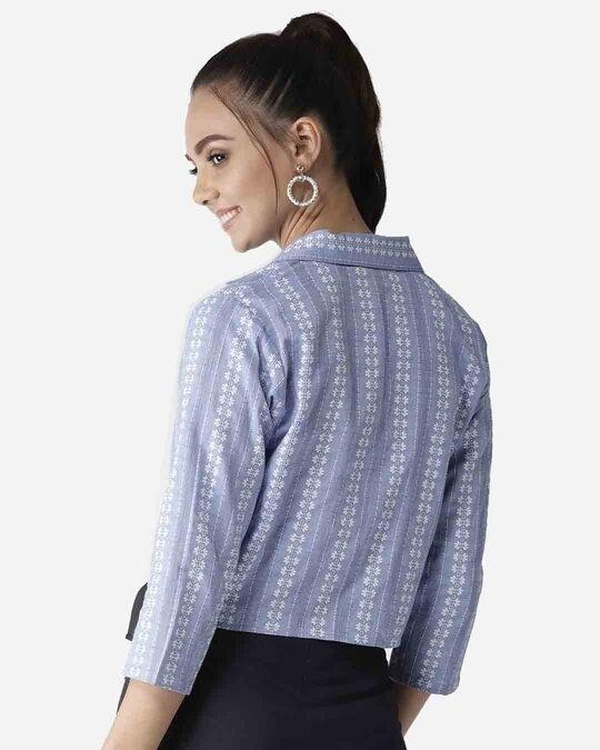 Shop Style Quotient Women Blue & White Self Design Crop Button Shrug-Full