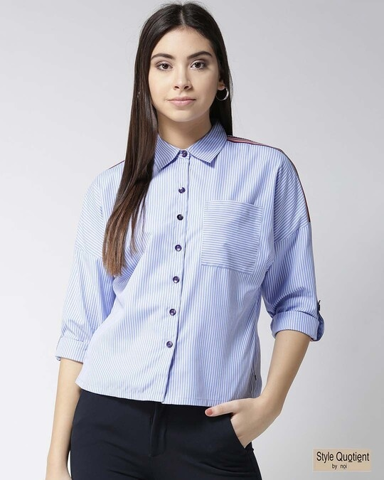 Shop Women Blue & White Striped Casual Shirt-Front