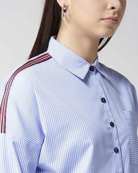 Shop Women Blue & White Striped Casual Shirt-Back