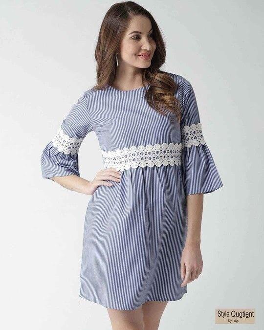 Shop Style Quotient Women Blue & White Striped Empire Dress-Front