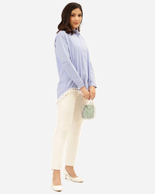 Shop Women Blue & White Striped Shirt-Full