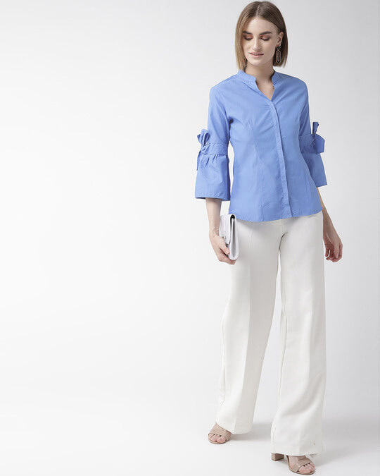 Shop Women Blue Classic Regular Fit Solid Casual Shirt-Full