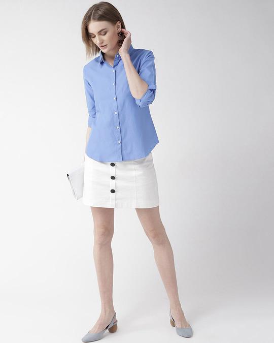 Shop Women Blue Classic Regular Solid Casual Shirt-Full
