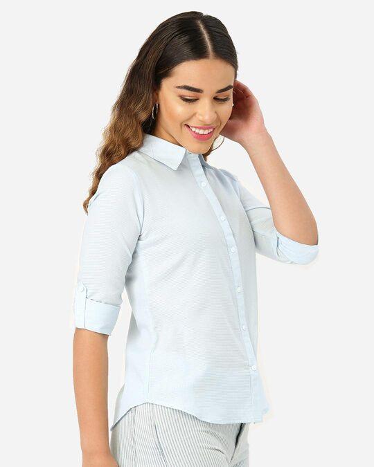 Shop Women Blue Classic Self Design Formal Shirt-Back
