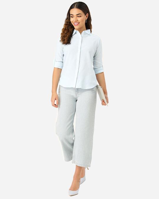 Shop Women Blue Classic Self Design Formal Shirt-Full