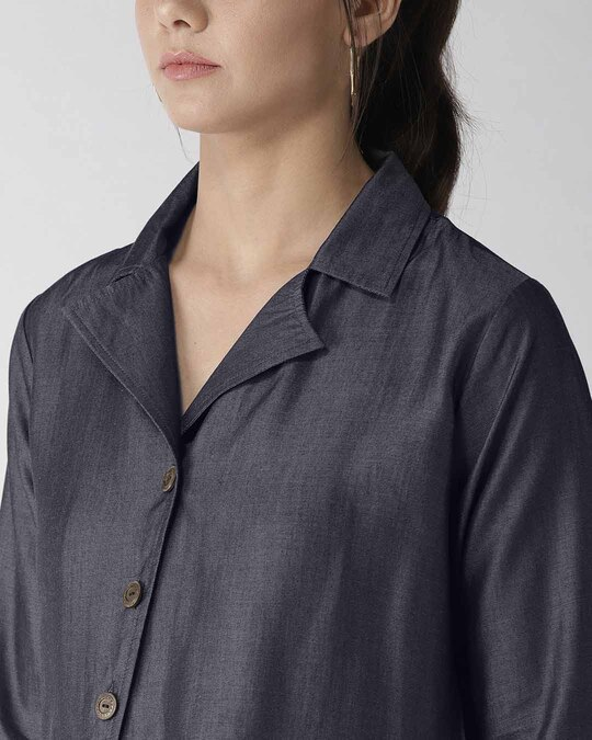 Shop Women Blue Modern Fit Solid Chambray Casual Shirt