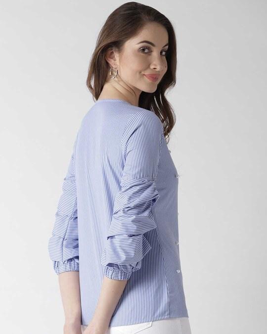 Shop Women Blue Striped Top-Design