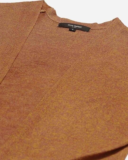 Shop Style Quotient Women Brown Solid Open Front Shrug-Back