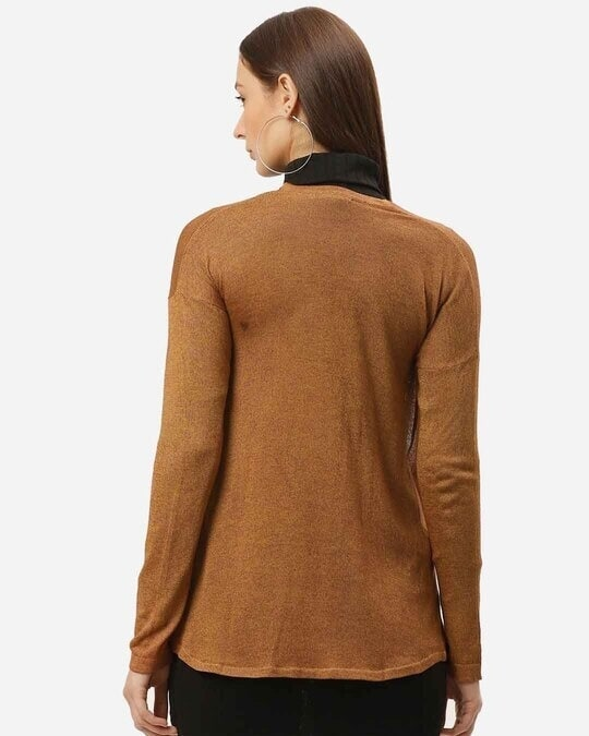 Shop Style Quotient Women Brown Solid Open Front Shrug-Full