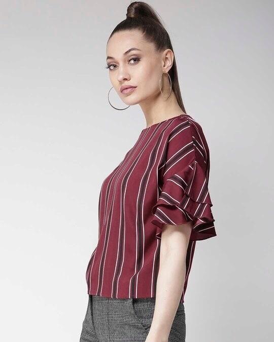 Shop Women Burgundy & Black Striped Top-Back