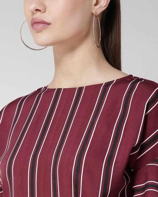Shop Women Burgundy & Black Striped Top