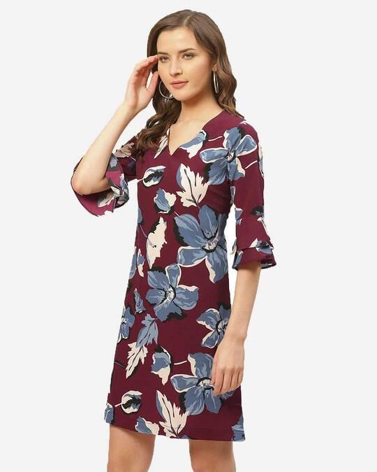 Shop Style Quotient Women Burgundy & Blue Floral Printed A-Line Dress-Back