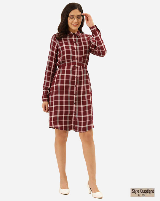 Shop Style Quotient Women Burgundy & Off-White Checked Shirt Dress-Front