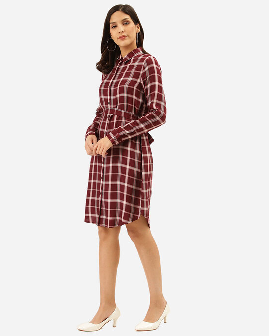 Shop Style Quotient Women Burgundy & Off-White Checked Shirt Dress-Back