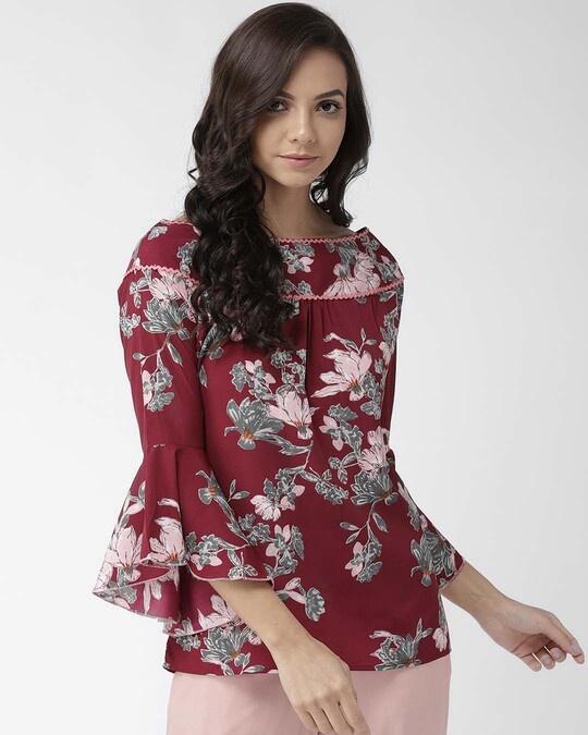 Shop Style Quotient Women Burgundy & Olive Green Floral Print Top-Front