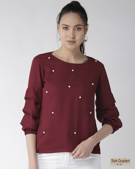 Shop Style Quotient Women Burgundy Embellished Top-Front