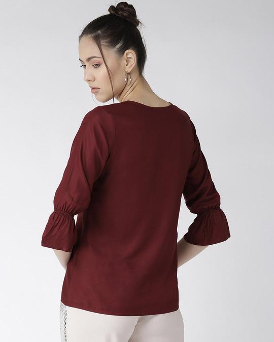 Shop Style Quotient Women Burgundy Solid Top with Applique Detail-Design