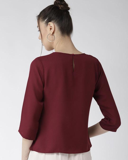 Shop Women Burgundy Solid Top With Embellished Detail-Design