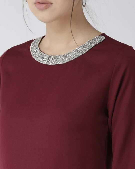 Shop Women Burgundy Solid Top With Embellished Detail