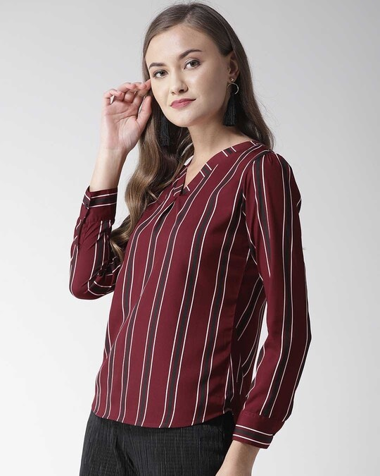 Shop Women Burgundy Striped Top-Back