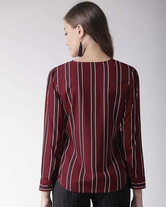 Shop Women Burgundy Striped Top-Design