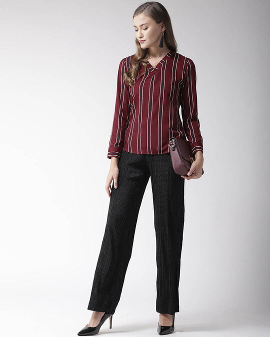 Shop Women Burgundy Striped Top-Full