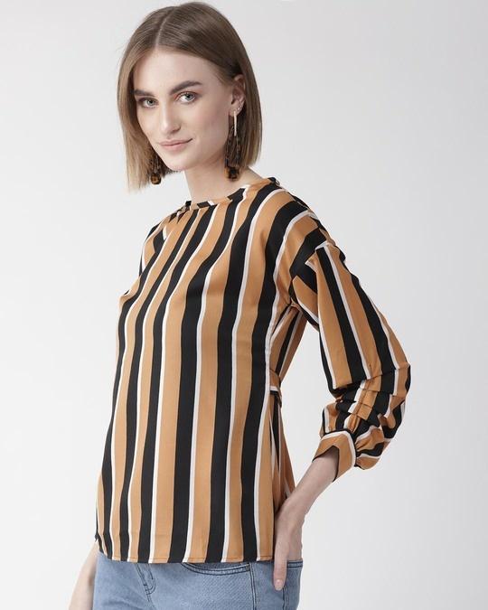 Shop Style Quotient Women Camel Brown & Black Striped Regular Top-Back