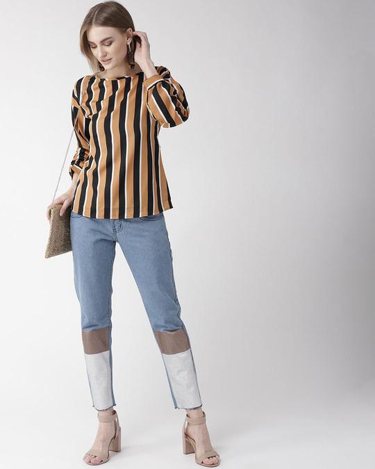 Shop Style Quotient Women Camel Brown & Black Striped Regular Top-Full