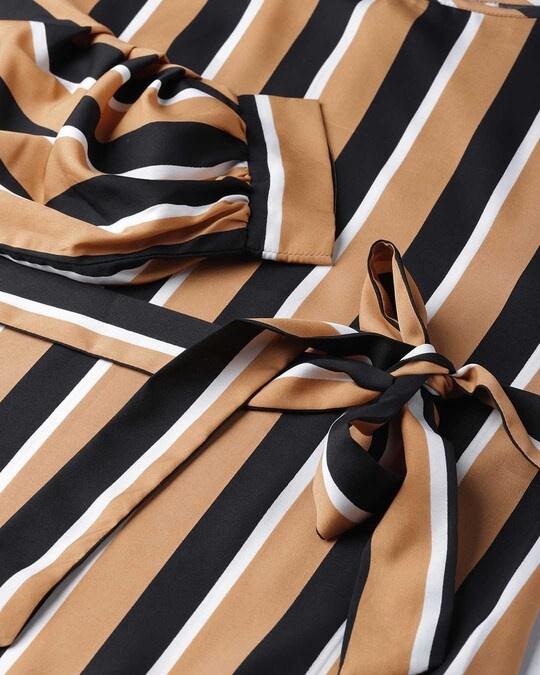 Shop Style Quotient Women Camel Brown & Black Striped Regular Top