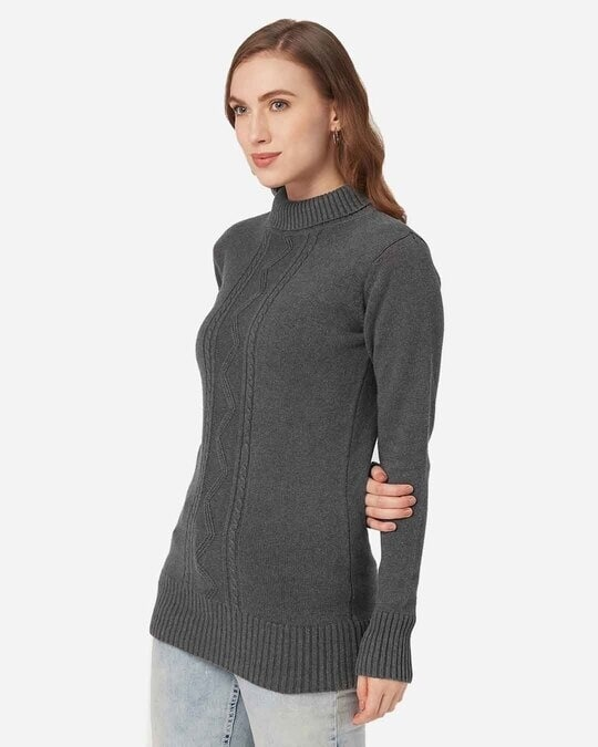Shop Style Quotient Women Charcoal Grey Self Design Pullover-Back
