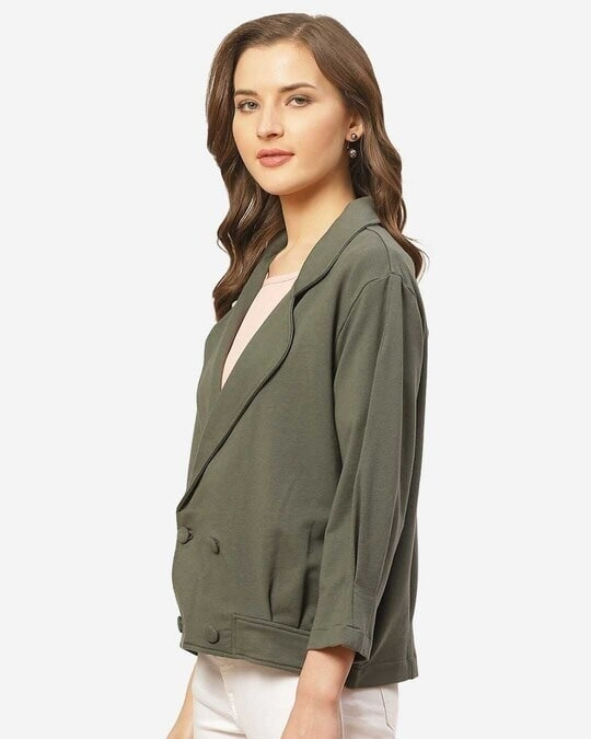 Shop Women Charcoal Grey Solid Lightweight Double Breasted Tailored Jacket-Design