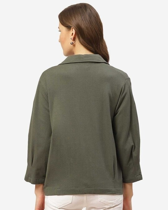 Shop Women Charcoal Grey Solid Lightweight Double Breasted Tailored Jacket-Full