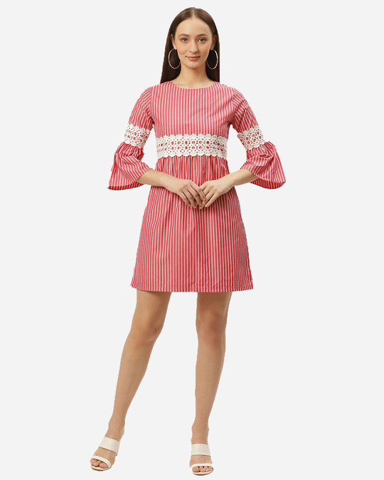 Shop Style Quotient Women Coral Red & White Striped Empire Dress-Full