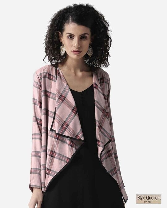 Shop Style Quotient Women Dusty Pink & Black Checked Waterfall Shrug-Front