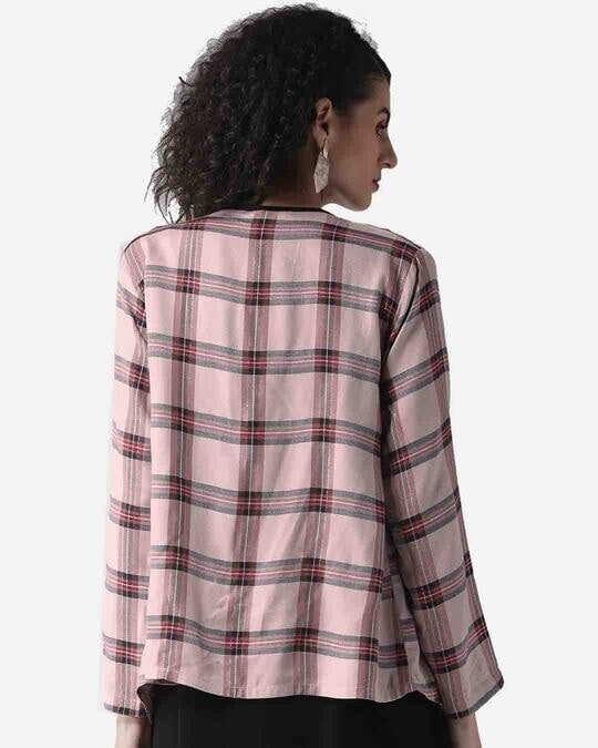 Shop Style Quotient Women Dusty Pink & Black Checked Waterfall Shrug-Full