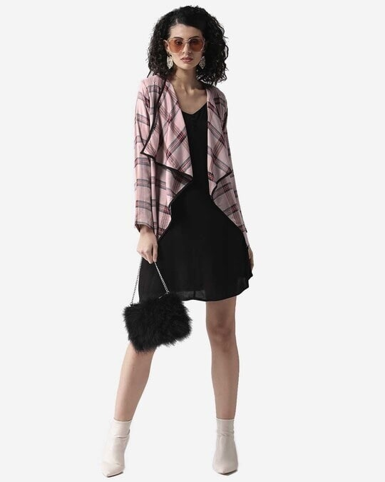 Shop Style Quotient Women Dusty Pink & Black Checked Waterfall Shrug