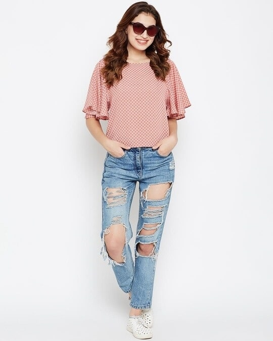 Shop Women Dusty Pink & White Checked Top-Full