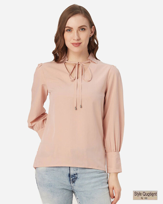 Shop Style Quotient Women Dusty Pink Bishop Sleeved Solid Top-Front