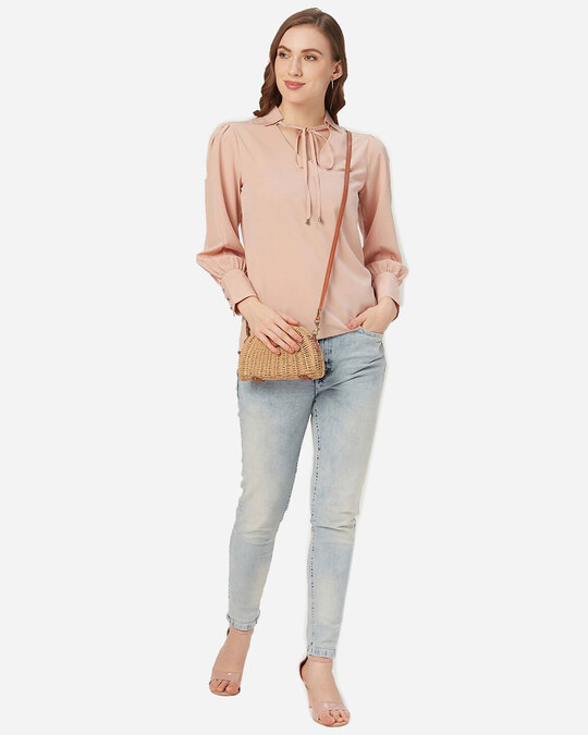Shop Style Quotient Women Dusty Pink Bishop Sleeved Solid Top-Full