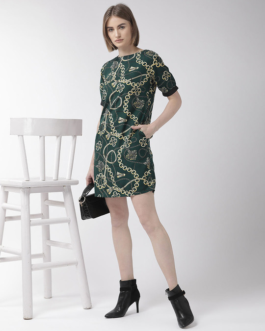 Shop Style Quotient Women Green & Cream-Coloured Printed Sheath Dress-Full
