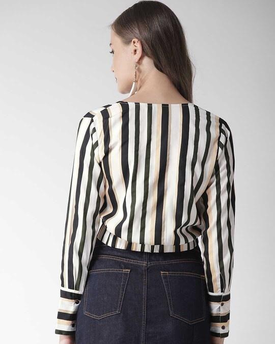Shop Women Green & White Striped Wrap Crop Top-Design