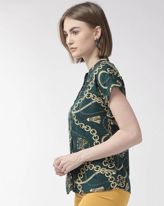 Shop Women Green & Yellow Classic Fit Printed Casual Shirt-Back
