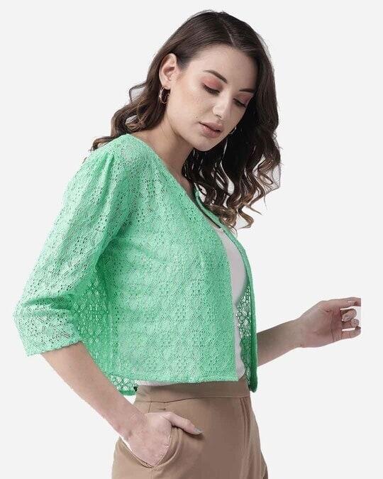 Shop Style Quotient Women Green Lace Open Front Shrug-Design