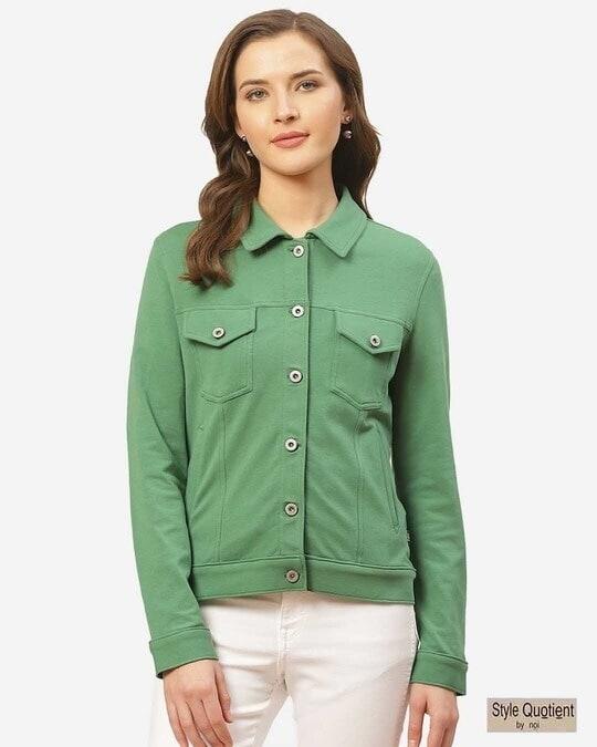 Shop Women Green Slim Fit Solid Lightweight Shacket-Front