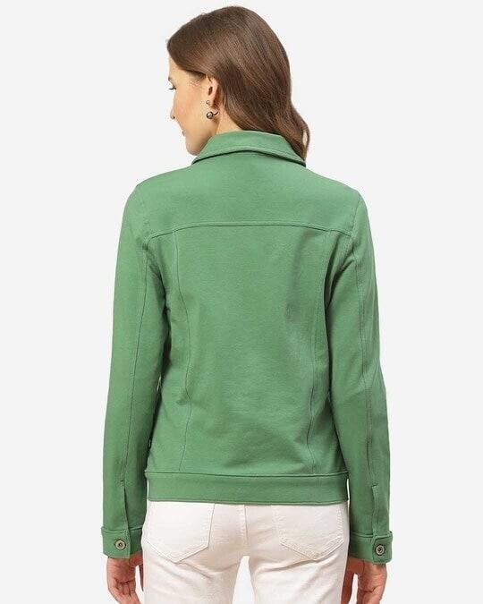 Shop Women Green Slim Fit Solid Lightweight Shacket-Full
